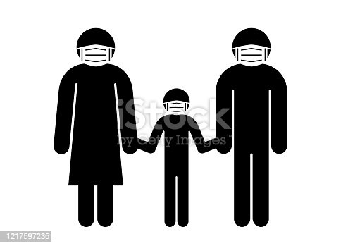 istock Pictogram of a family in masks 1217597235