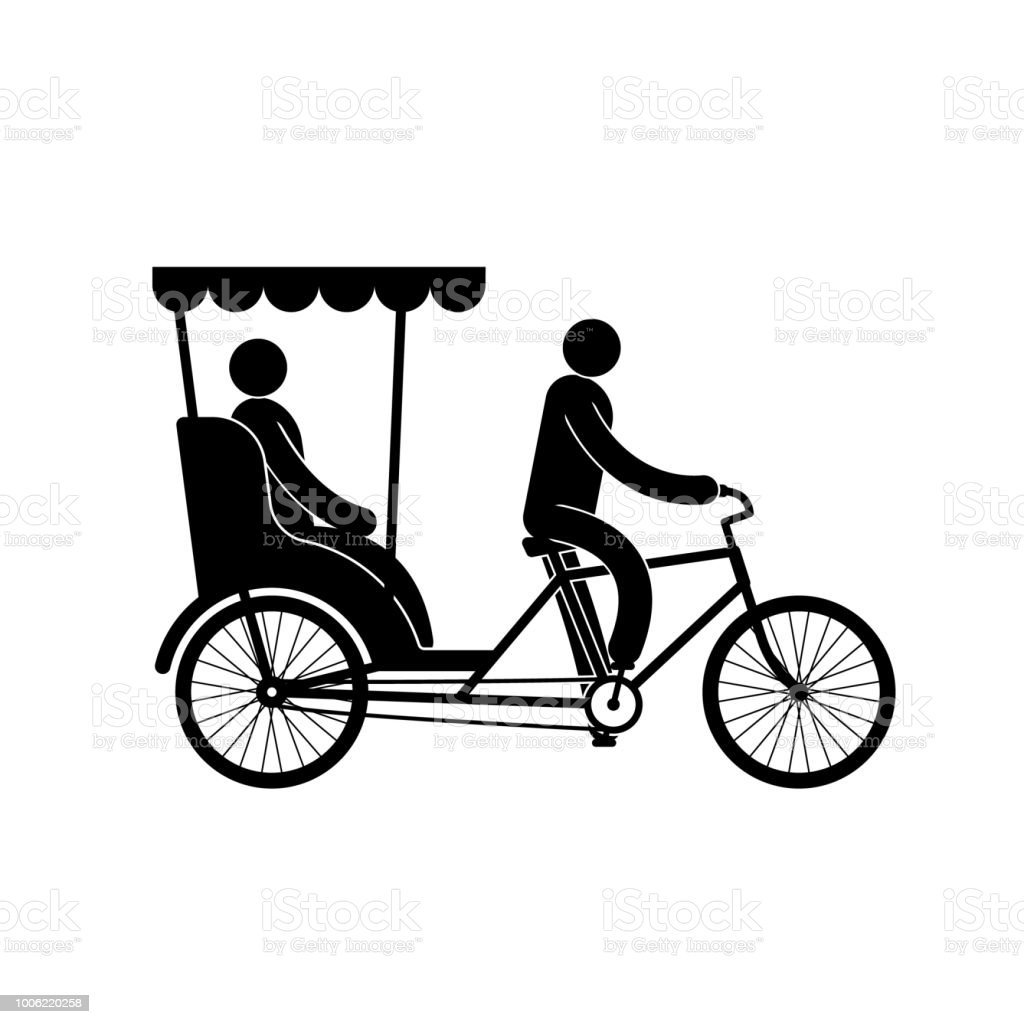 Pictogram of a pedicab with  driver and passenger vector art illustration