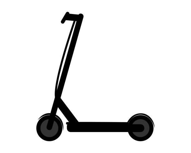 illustrazioni stock, clip art, cartoni animati e icone di tendenza di pictogram of e-scooter on white background - monopattino elettrico