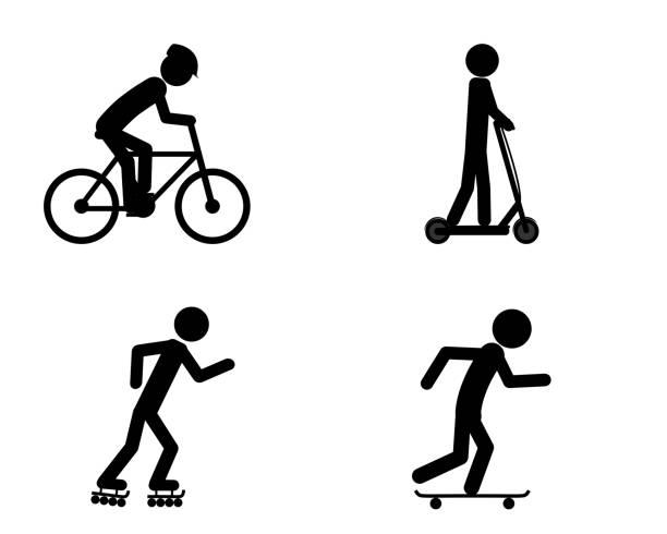 illustrazioni stock, clip art, cartoni animati e icone di tendenza di pictogram of individual sports activities - monopattino elettrico