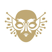 Pictogram of the Russian National Theater Award and the Golden Mask Festival. A masked Venetian face mask with a double-headed eagle.