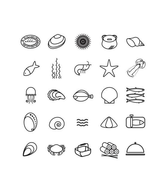 ilustrações de stock, clip art, desenhos animados e ícones de pictogramme, icônes, mer, océan, pêche, fruits de mer, crustacés - lapa