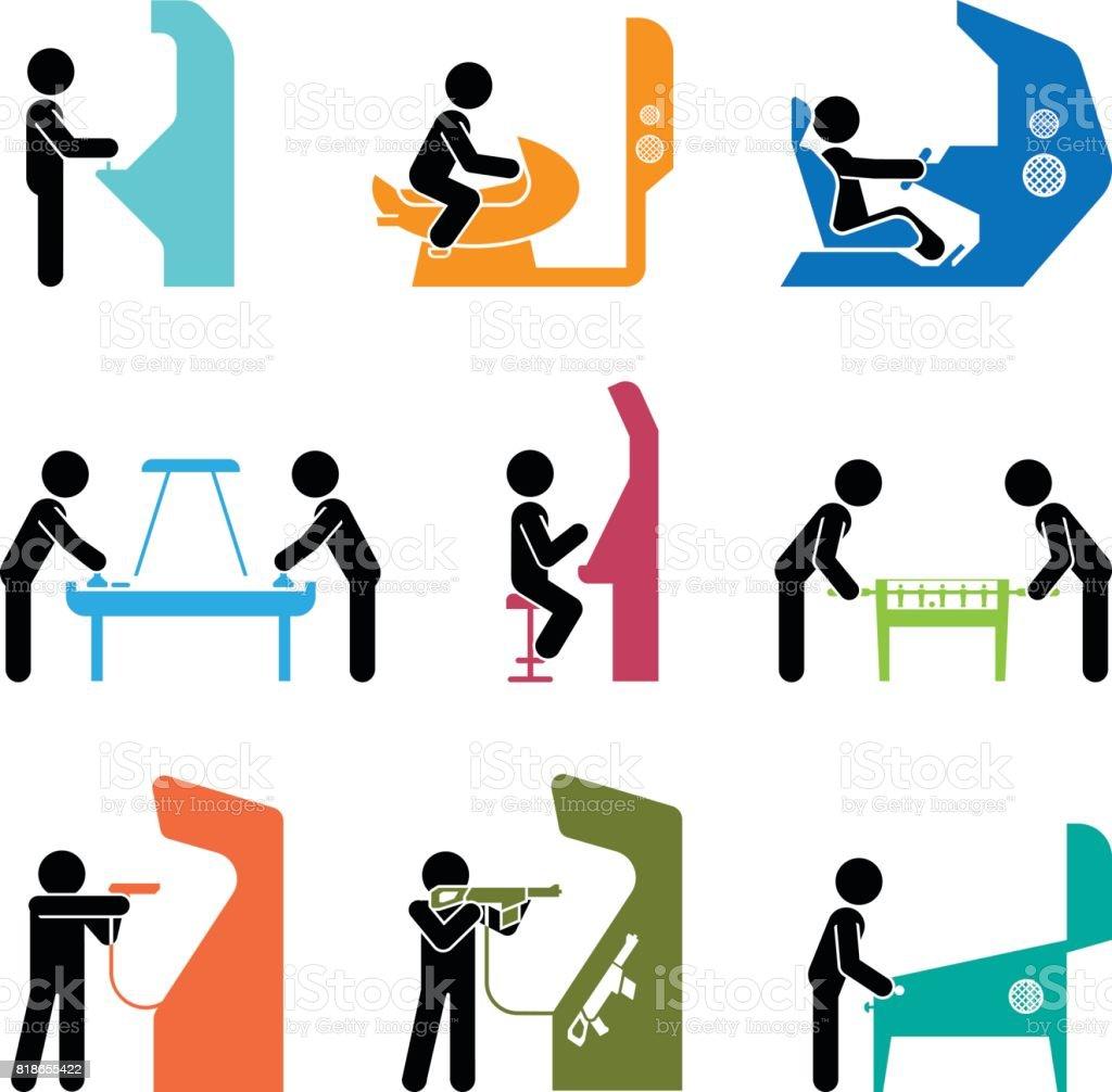 Pictogrammes représentant les gens de jouer à des jeux. - Illustration vectorielle