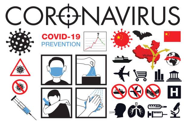 Pictograms to illustrate the spread of the global Coronavirus pandemic. Pictogrammes pour illustrer la lutte contre la propagation de l'épidémie de Coronavirus qui est partie de Chine avant de contaminer l'ensemble de la population mondiale. flu shot stock illustrations