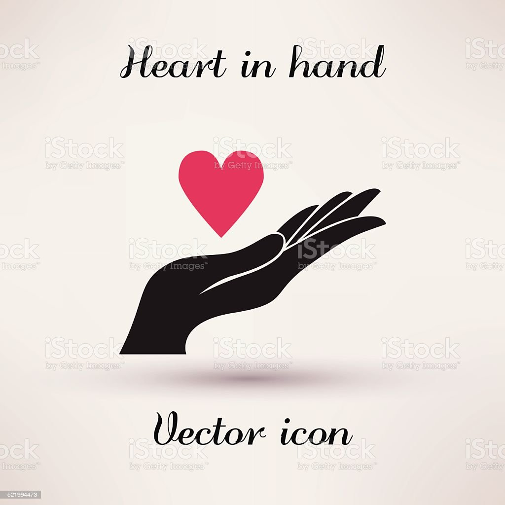 Pictograph Of Heart In Hand Vector Icon Template For Design