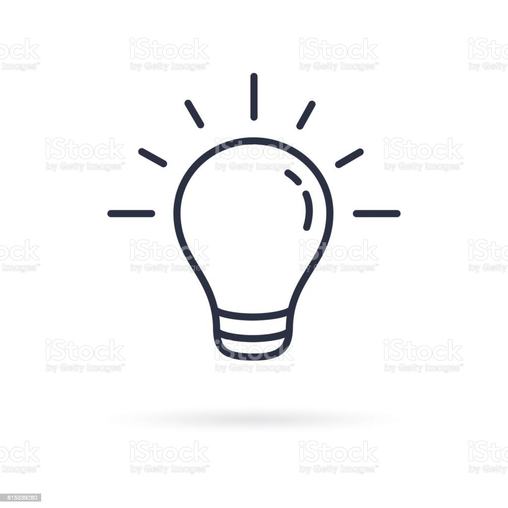 Pictograph of light bulb lamp line icon on white background illustration