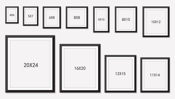 ilustraciones, imágenes clip art, dibujos animados e iconos de stock de tamaño de marcos de imagen y foto - bordes de marcos de fotografías
