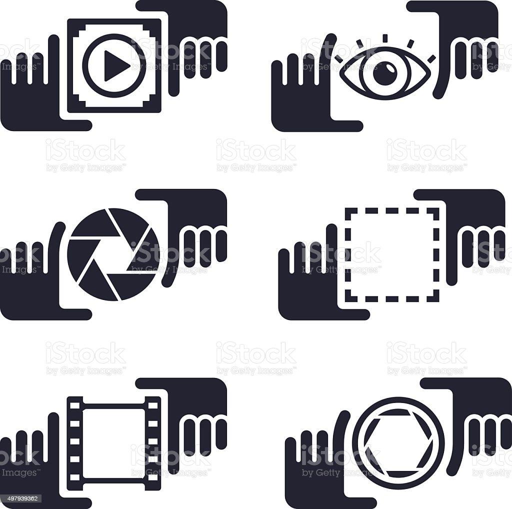 Picture Capture Media Hands vector art illustration