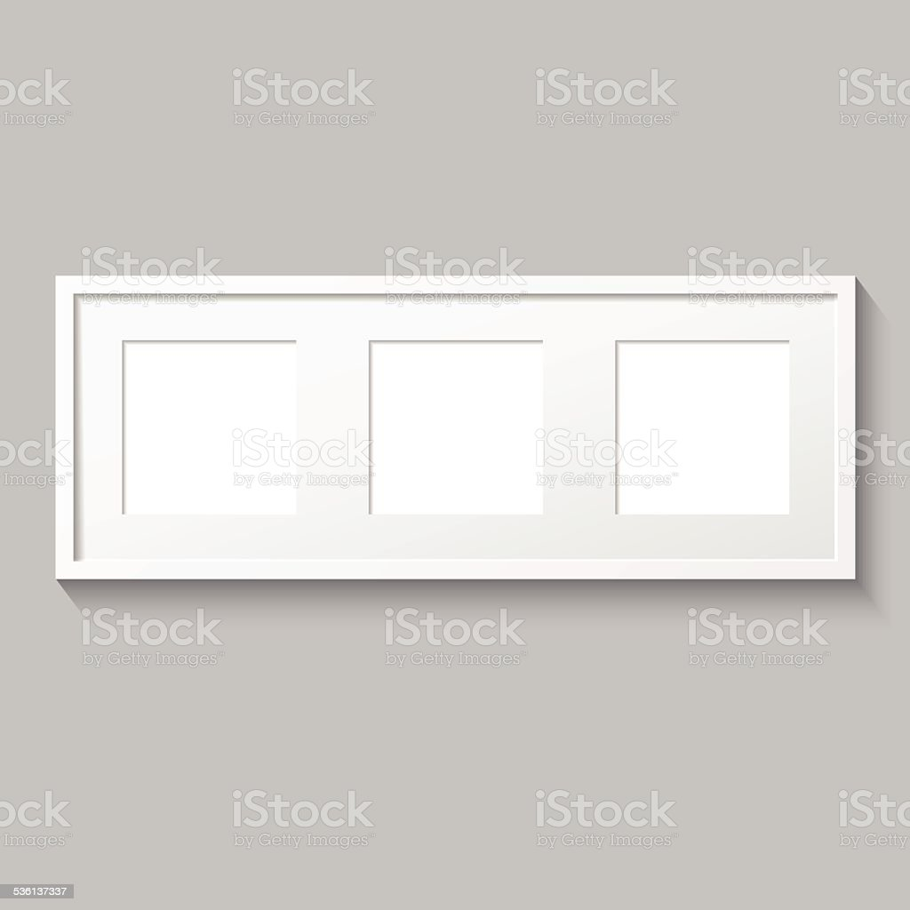 3D picture frame design for image or text. Triptych. vector art illustration