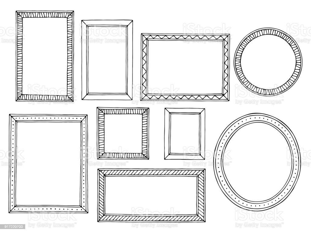 그림 프레임 그래픽 검은 흰색 절연된 스케치 그림 벡터 설정 - 로열티 프리 개체 그룹 벡터 아트