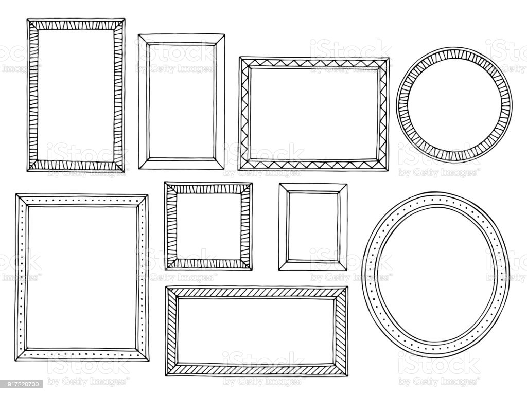 Picture frame graphic black white isolated sketch set illustration vector