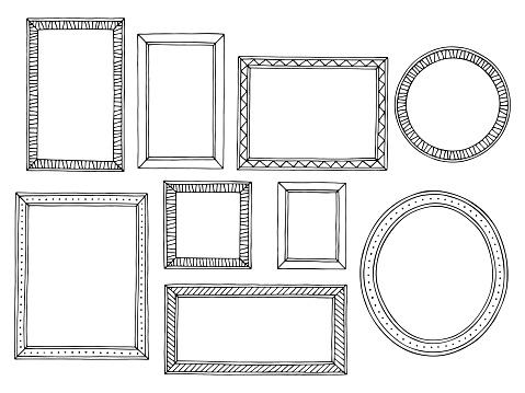 그림 프레임 그래픽 검은 흰색 절연된 스케치 그림 벡터 설정 개체 그룹에 대한 스톡 벡터 아트 및 기타 이미지