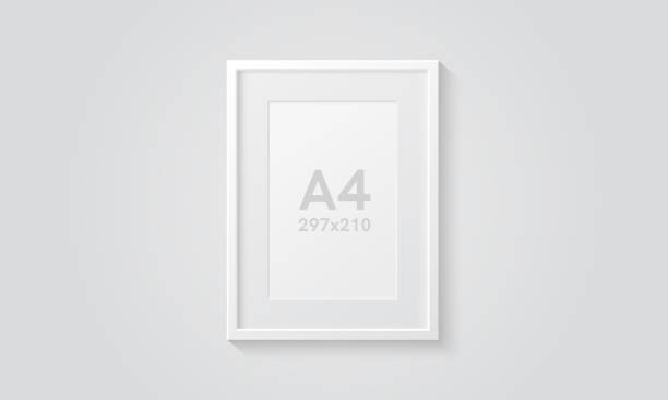 ilustrações de stock, clip art, desenhos animados e ícones de picture frame isolated on a wall. white color. realistic modern template. a4 vertical format. mock up for pictures or photo. beautiful minimal clean design. eps 10 vector illustration. - white wall