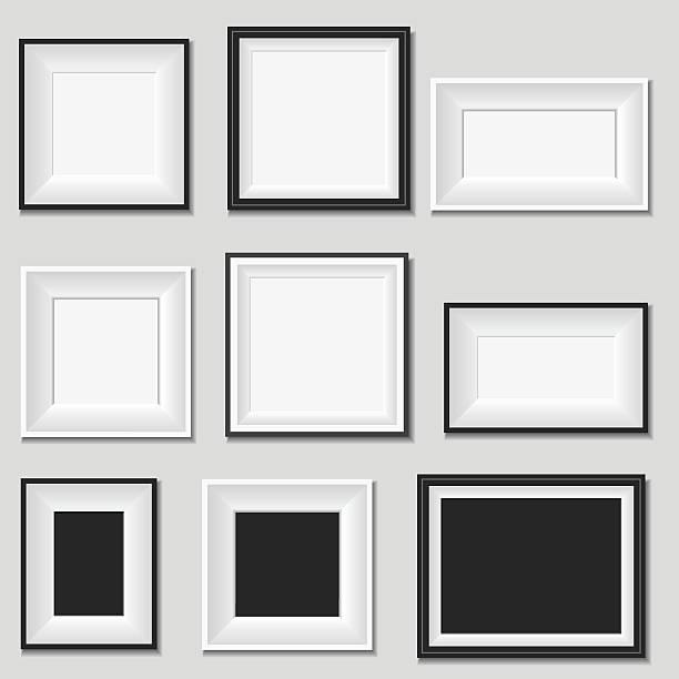 bildbanksillustrationer, clip art samt tecknat material och ikoner med picture frame - painting wall