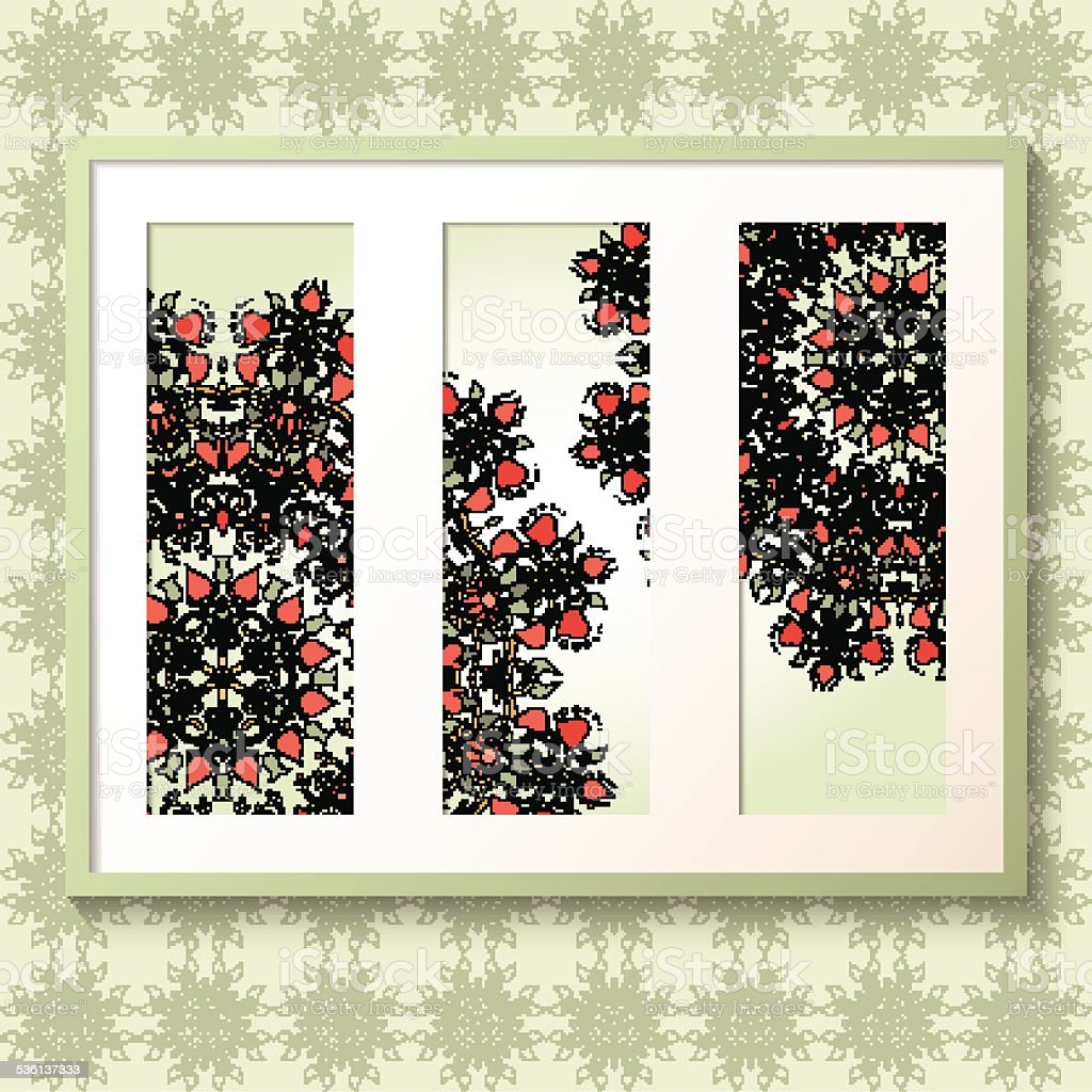 3D picture frame with round floral ornaments vector art illustration
