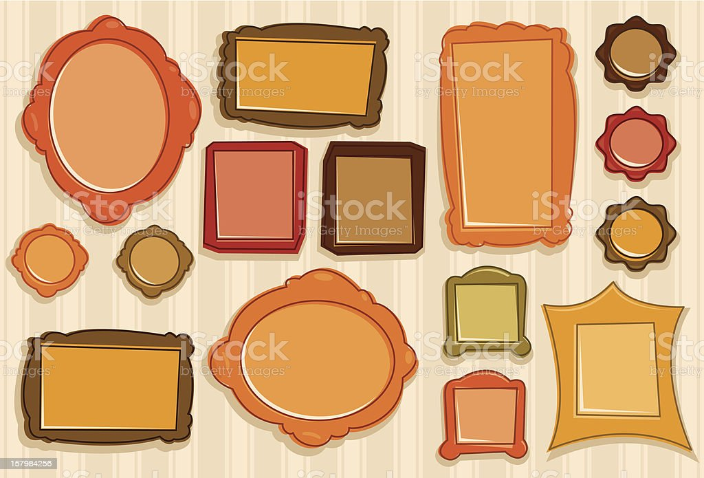 Picture Frames On The Wallpaper royalty-free stock vector art
