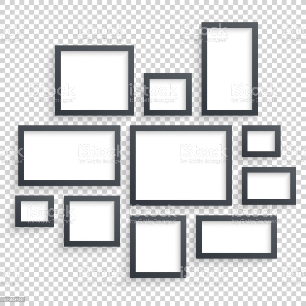 Picture frames vector. Photo art gallery. Dark Blank Collection on vector art illustration