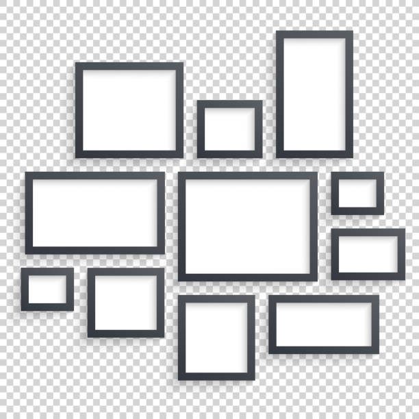 picture frames vector. photo art gallery. dark blank collection on - picture frame borders stock illustrations, clip art, cartoons, & icons
