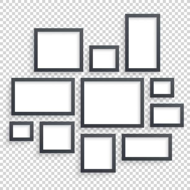 ilustraciones, imágenes clip art, dibujos animados e iconos de stock de picture frames vector. photo art gallery. dark blank collection on - bordes de marcos de fotografías