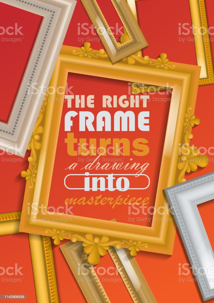 Picture Framing Banner Poster Vector Illustration Buying Fillets In Shop Or Store Vintage Gold And White Frames For Mirrors Paintings Right Frame Turnes Drawing Into Masterpiece Stock Illustration Download Image Now