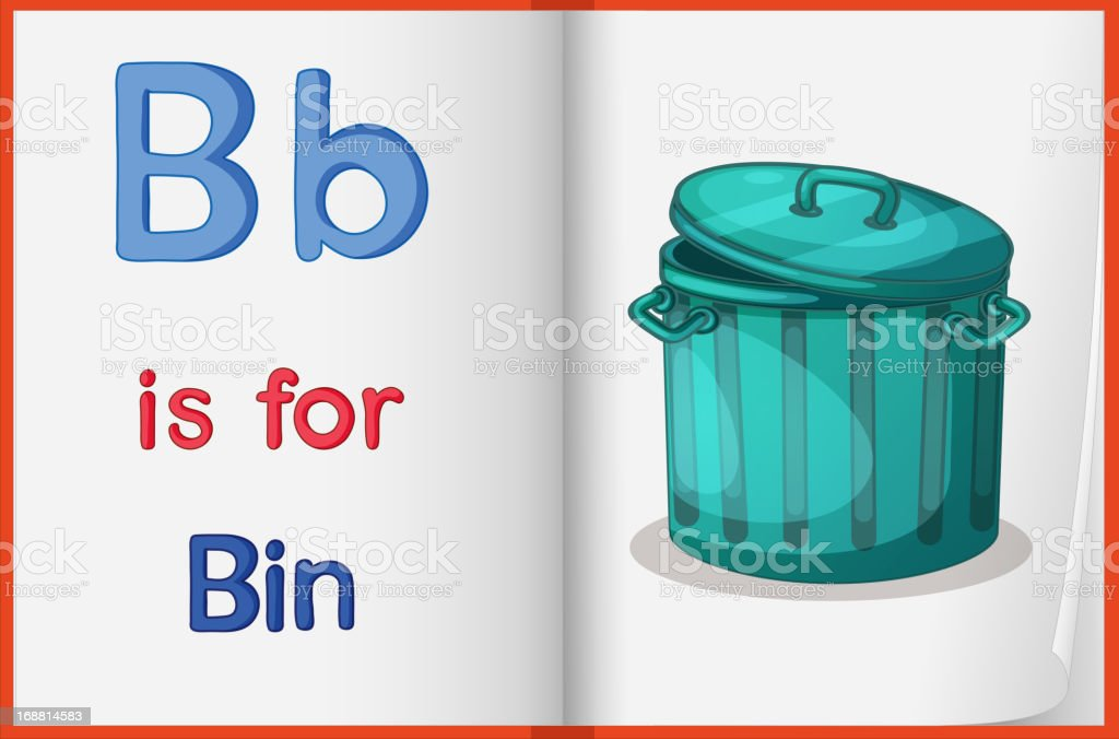 Picture of a bin in book royalty-free stock vector art