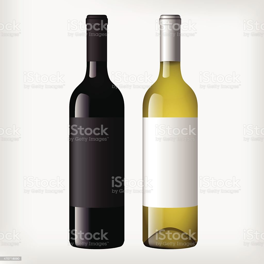 A picture of a black and gold wine bottle vector art illustration