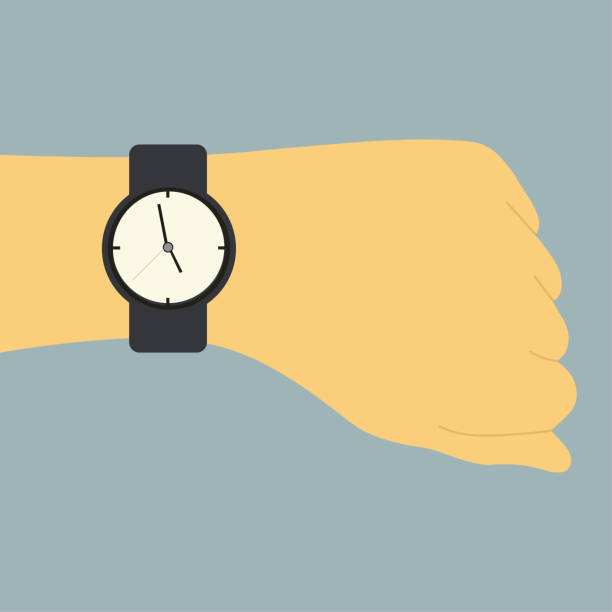 bildbanksillustrationer, clip art samt tecknat material och ikoner med bild av en mänsklig hand med klocka - armbandsur