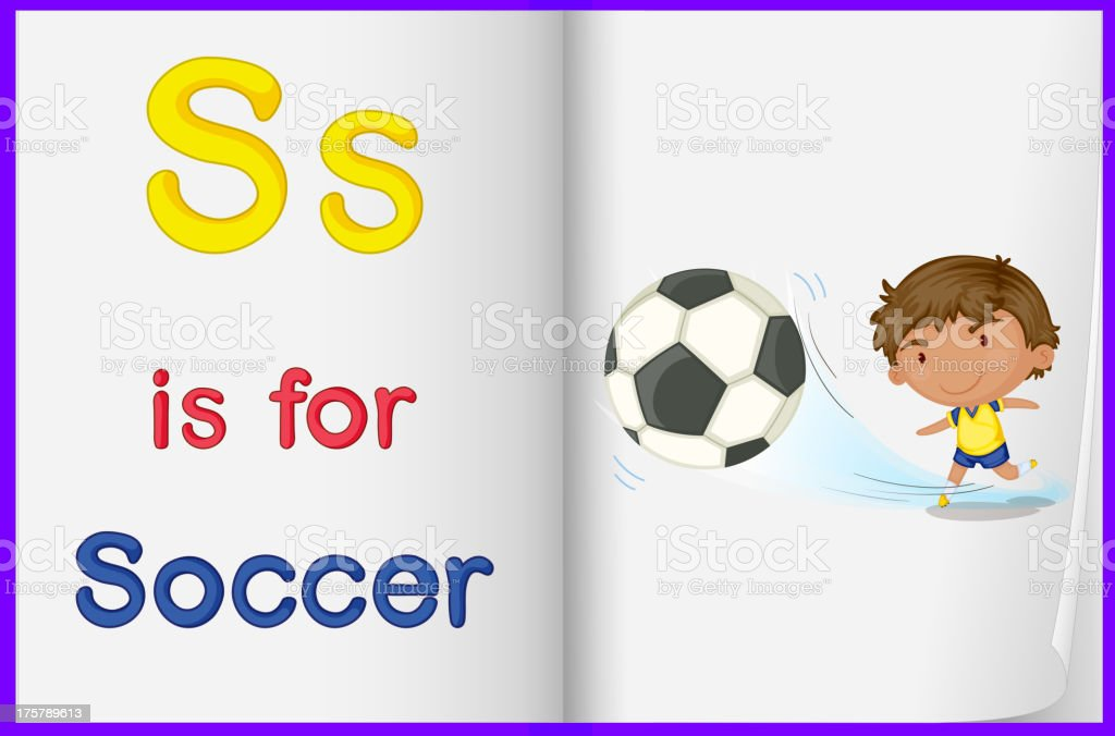 Picture of a kid playing soccer in book royalty-free stock vector art