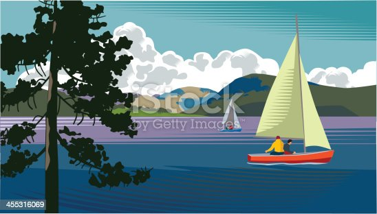 Landscape with lake and sailing boats.