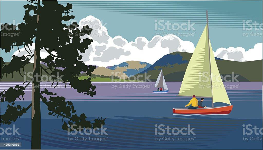 湖でのボート ベクターアートイラスト