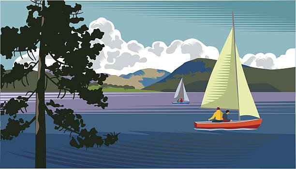 lake mit segelboot - segeln stock-grafiken, -clipart, -cartoons und -symbole