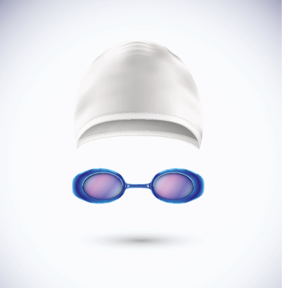 Picture of a swim cap and swim goggles for swimming