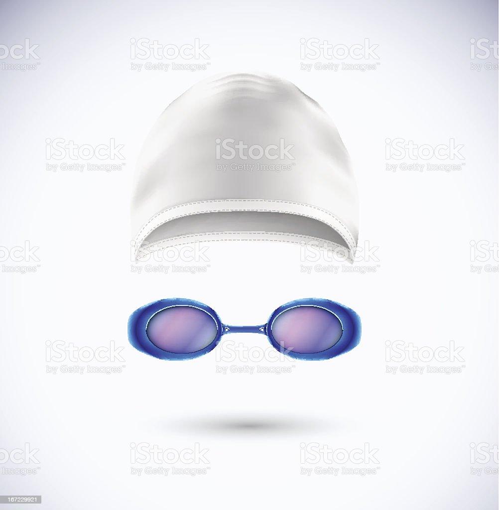 Picture of a swim cap and swim goggles for swimming vector art illustration