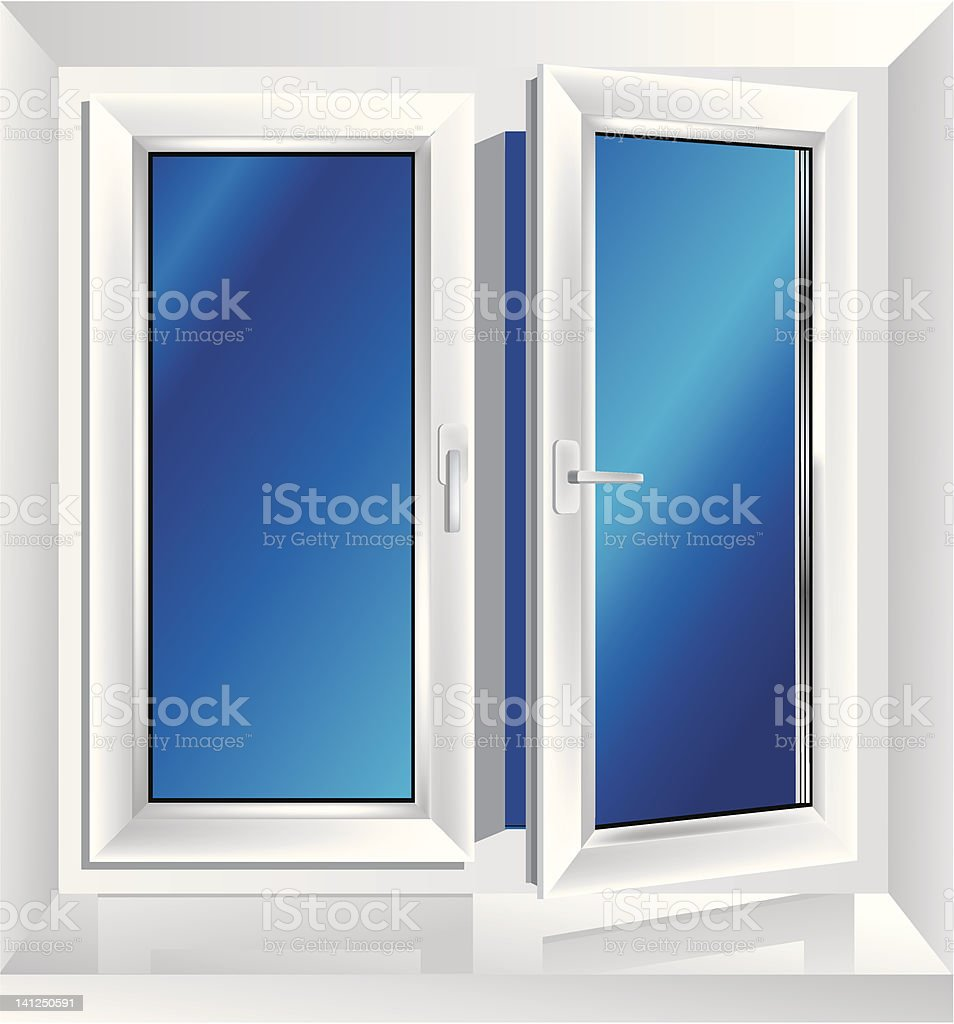 Picture of a white window with one side open and blue glass vector art illustration