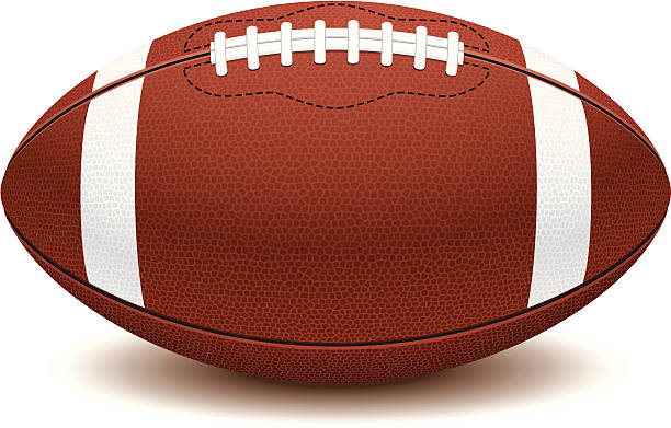 picture of american football ball on white background  - football stock illustrations, clip art, cartoons, & icons