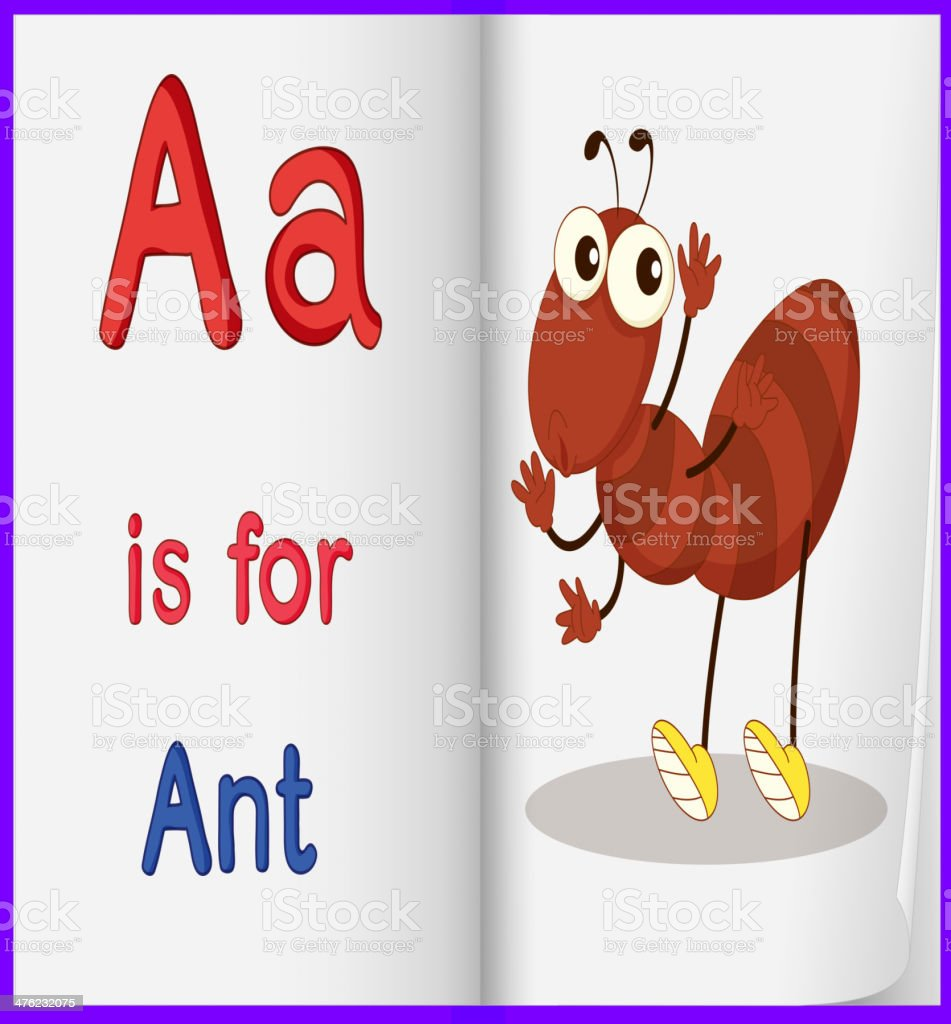 Picture of an ant in book royalty-free stock vector art
