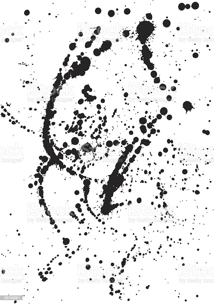A picture of black ink splatters on a white canvas vector art illustration