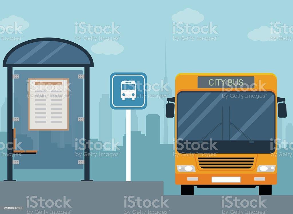 Picture of bus on the bus stop. - ilustração de arte em vetor