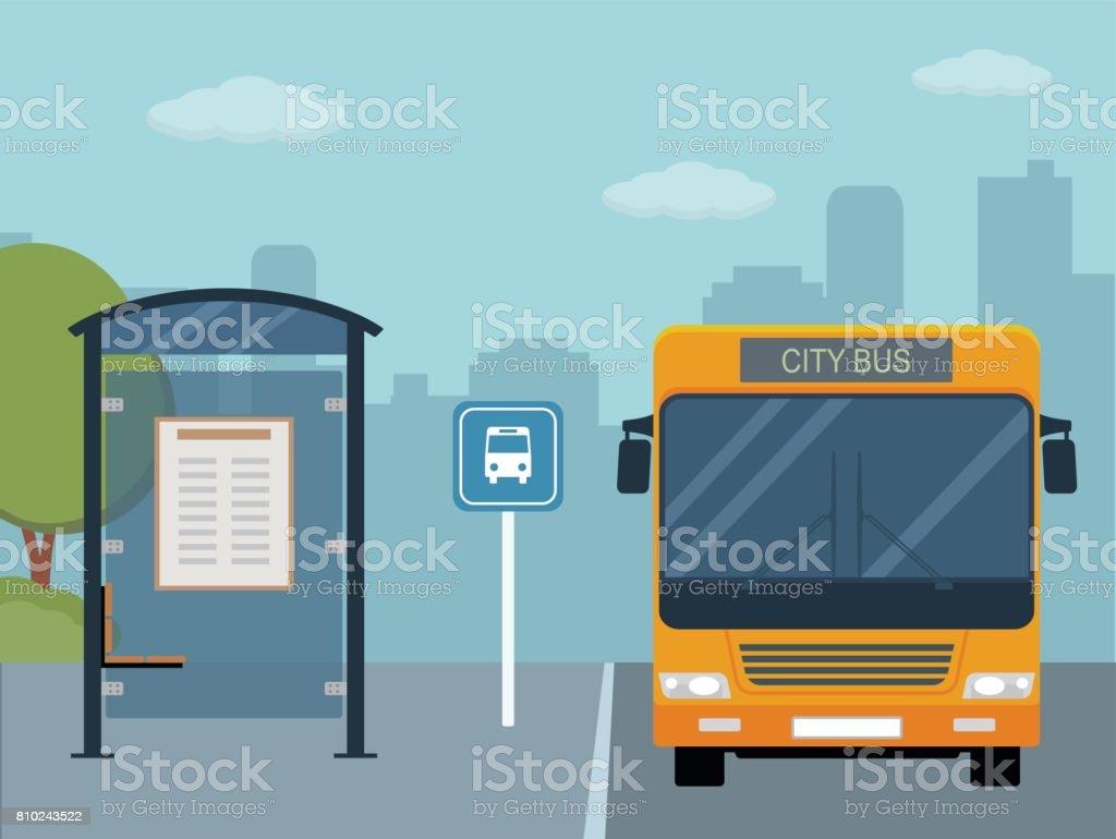 Photo de bus à l'arrêt de bus. - Illustration vectorielle