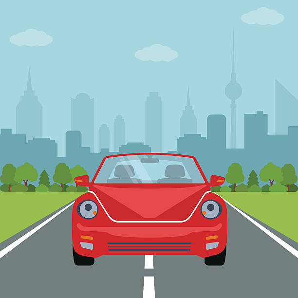 Picture of car on the road vector art illustration