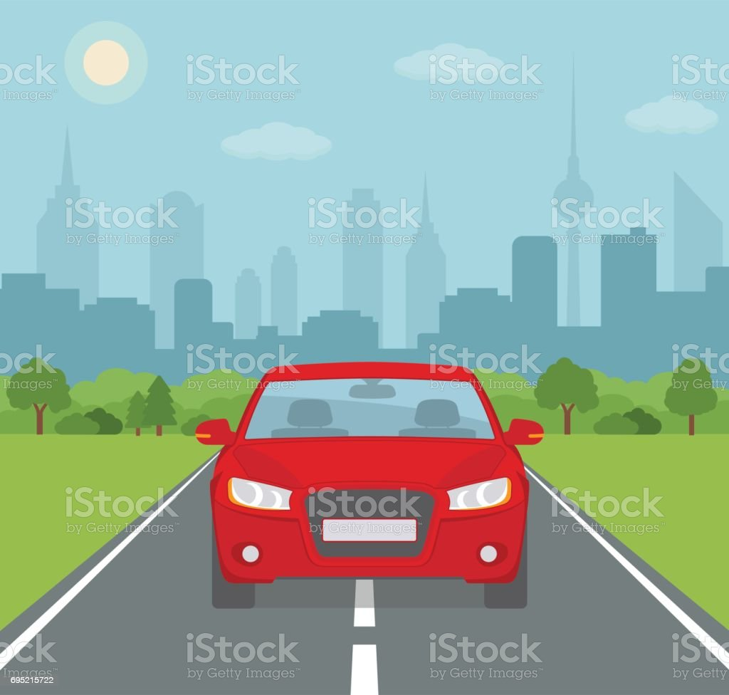 Picture of car on the road with city silhouette on background. vector art illustration