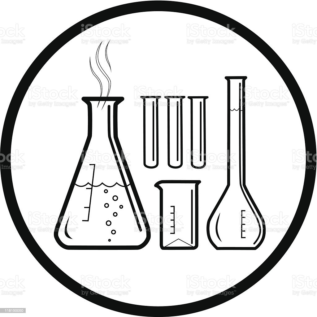 Picture of chemistry flasks and testiness vector art illustration