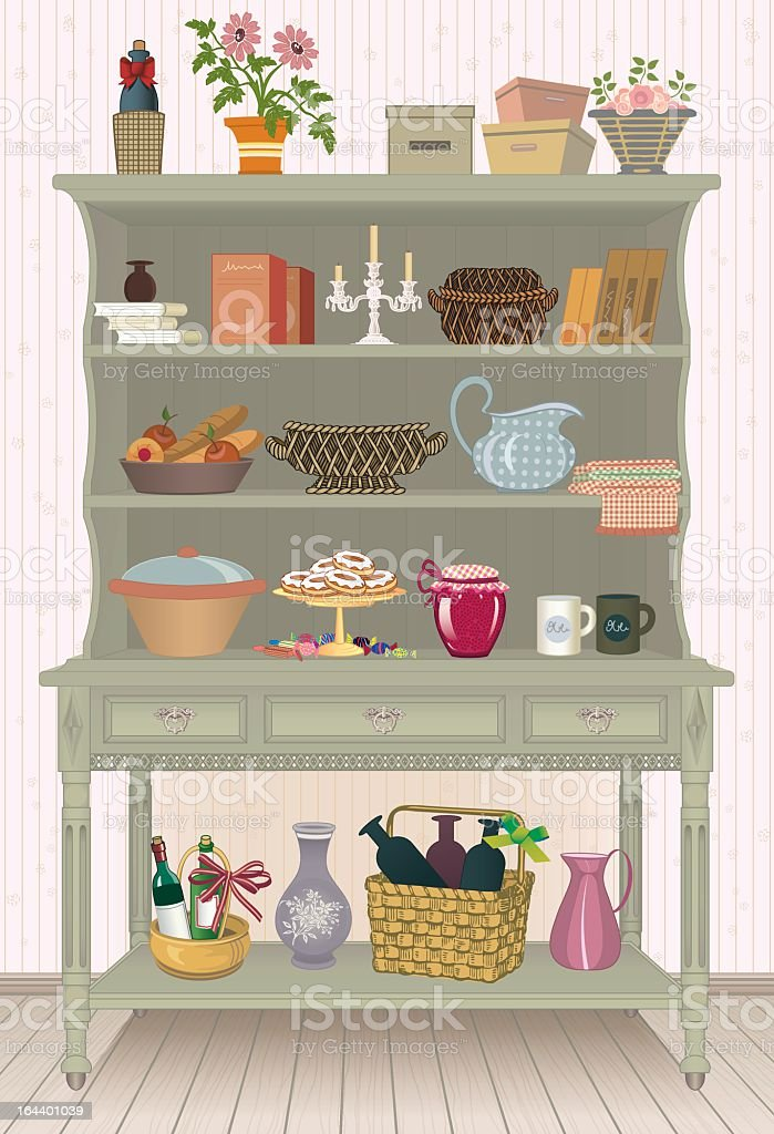 Picture of cupboard with food and kitchen accessories royalty-free stock vector art
