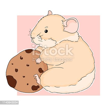 Picture of cute sitting hamster with cookie on pink background. Vector illustration of little hamster. Good for decoration post card and books cover. Animal colorful sketch.