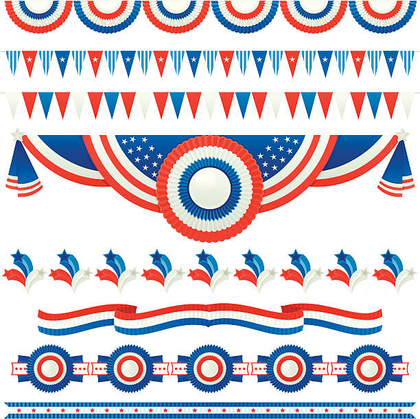 A picture of different USA banners vector art illustration
