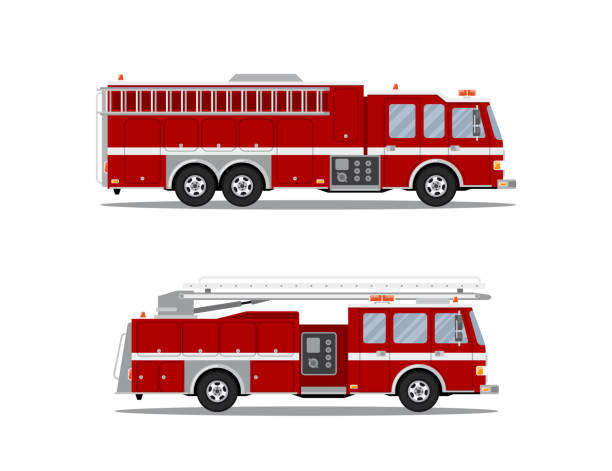 picture of fire truck Picture of two fire trucks isolated on white background. Flat style illustration. fire engine stock illustrations