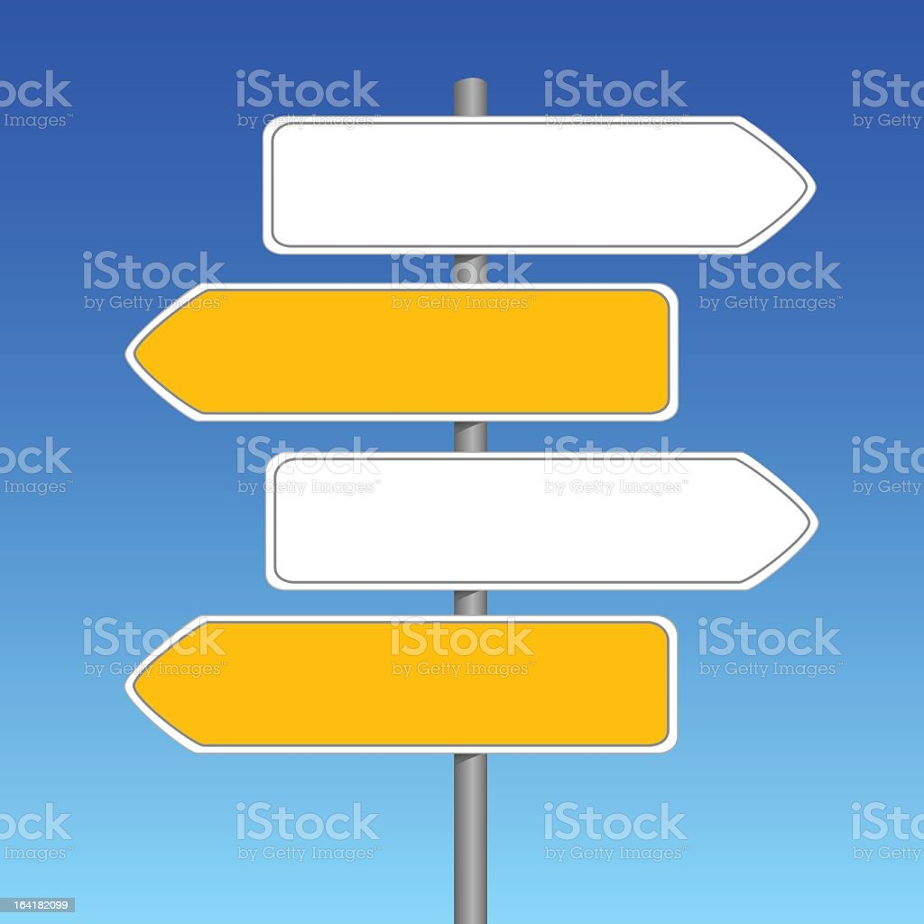 A picture of four empty yellow and white signs vector art illustration