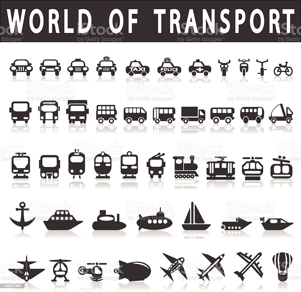 A picture of icons to represent modes of transport  vector art illustration