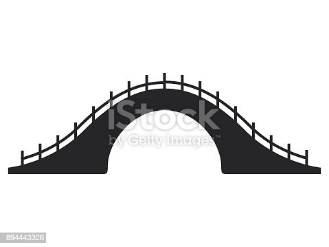 Picture Of Japanese Bridge Stock Vector Art More Images Architecture 894443326