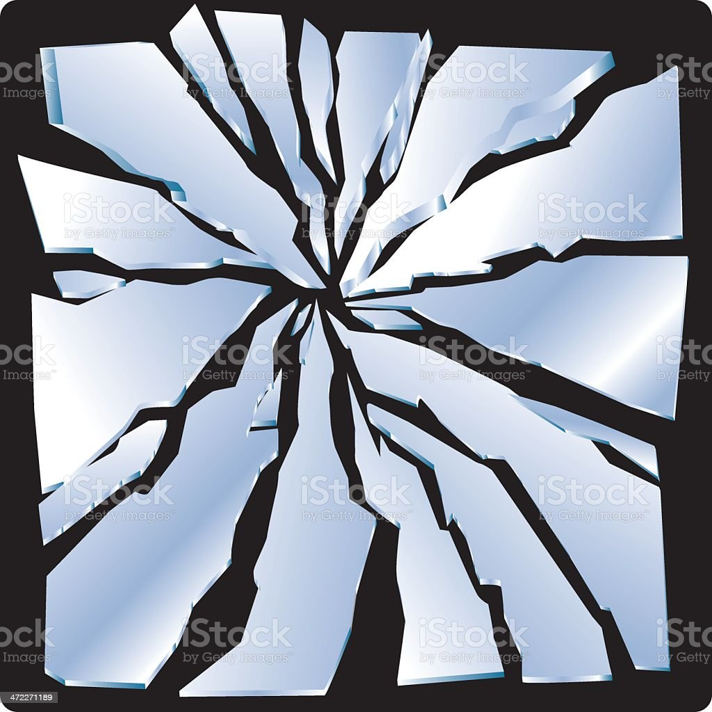Picture of some broken glass on a black background  vector art illustration